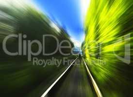 Man on railway motion blur background