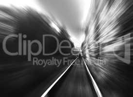 Black and white man on railway motion blur background