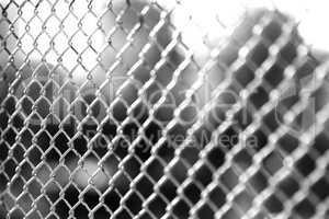 Horizontal black and white jail rabitz bokeh background