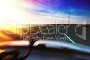 Inside racing car motion blur abstract background