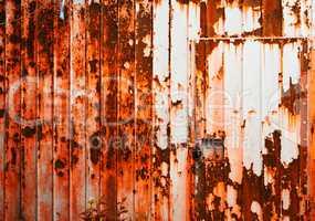 Horizontal orange rusty cabin door textured background