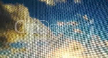 Dramatic sky clouds with blank space through grid background