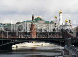 Moscow Kremlin cityscape with bridge background