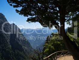 Horizontal vivid summer Greece mountains landscape background ba