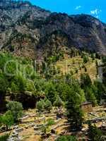 Vivid vibrant vertical mountain village landscape