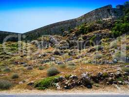 Horizontal vivid abandoned castle wall landscape background back