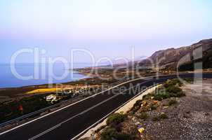 Horizontal vivid ocean land road landscape background backdrop