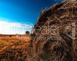 Orange hayrick/haystack