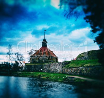 Square vintage bokeh postcard with Middle Ages castle