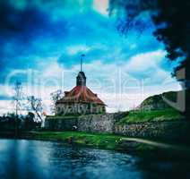Square vintage bokeh postcard with Middle Ages castle