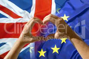 Hands heart symbol, exit Great Britain from European Union