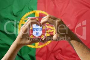 Hands heart symbol, Portugal flag