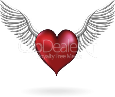 Red heart with wing love symbol vector element for design Valentine's Day