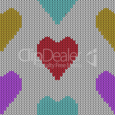 Knitted heart. Valentine day card. Vector handmade seamless wool pattern. Abstract ornamental background. Vintage  embroidery illustration texture.