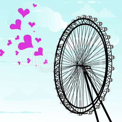 I love You London Poster Design and hearts vector illustration  and London eye design, vector illustration