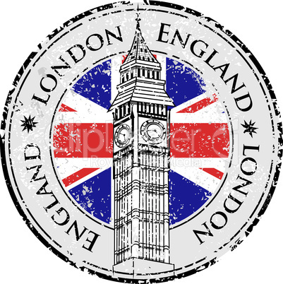 Rubber grunge stamp London Great Britain, Big Ben tower and British flag vector