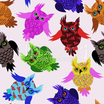 Owl bird seamless icon vector detail background illustration with floral pattern