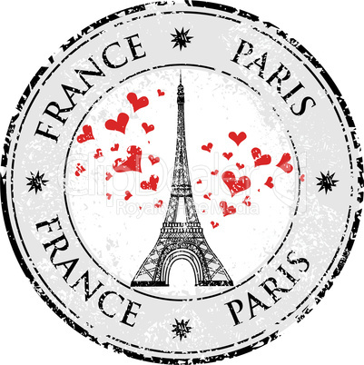 Paris town in France grunge stamp love heart, eiffel tower vector valentines day illustration