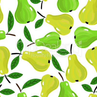 Fruit pear watercolor vector seamless background with yellow and green design. Isolated on white.