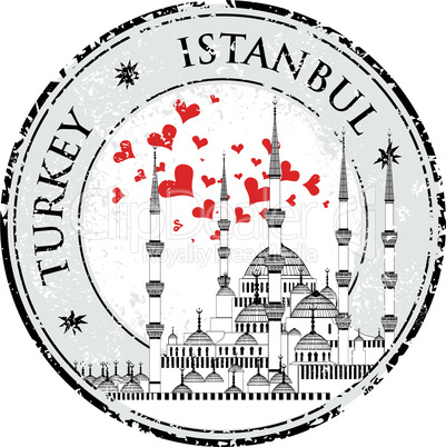 I Love Istanbul Design stamp vector with heart The Blue Mosque