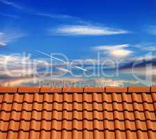 Roof tiles in evening