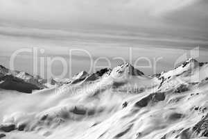 Black and white snowy mountainside