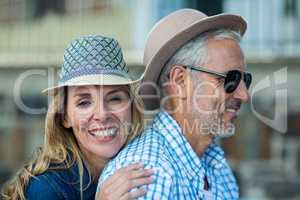 Romantic mature couple in city