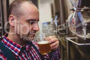 Manufacturer smelling beer in mug at brewery