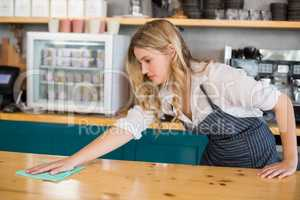 Waitress cleaning cafe counter