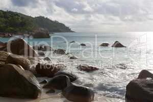 Rough waves at Anse Lazio, Praslin island, Seychelles