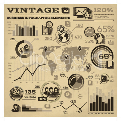 Infographic elements collection, business vector illustration in vintage style.