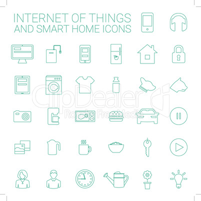 Line icons set. Smart home and internet of things concept.