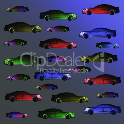 Background of multi colored cars.