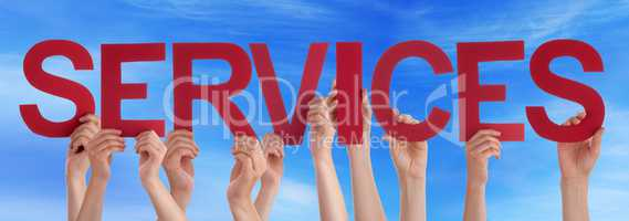 Many People Hands Holding Red Straight Word Services Blue Sky