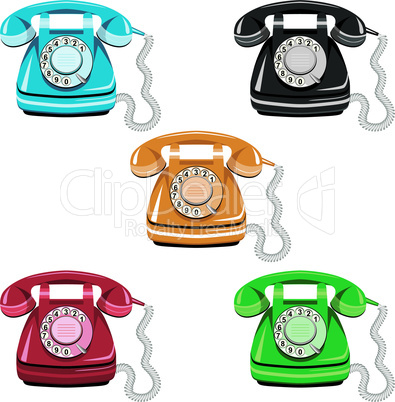 Telephone icon set, vector old rotary dial vintage phone on white background