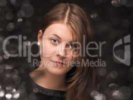 Glamorous natural skin fashion girl portrait