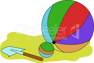 Balls and a children shovel