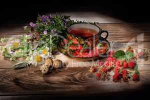 Tea, Flowrs And Raspberries