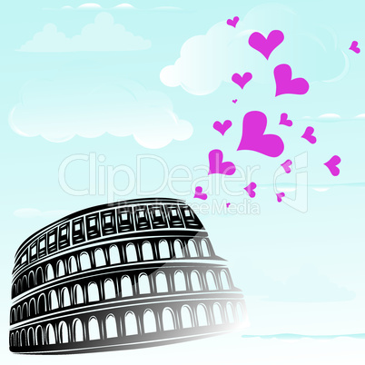 Colosseum and the heart Love Rome, Italy, vector illustration