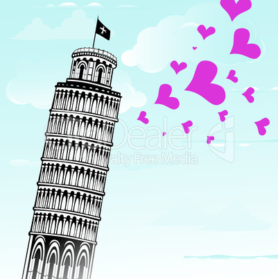 Love to Italy, Pisa tower vector illustration.