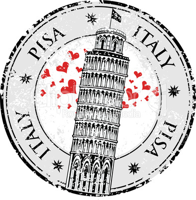 Stamp love heart Pisa tower in Italy, vector illustration