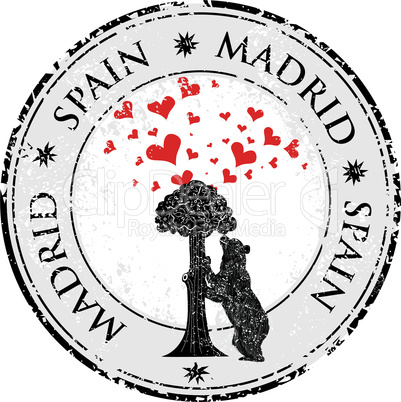 Love heart stamp with statue of Bear and strawberry tree and the words Madrid, Spain inside, vector illustration