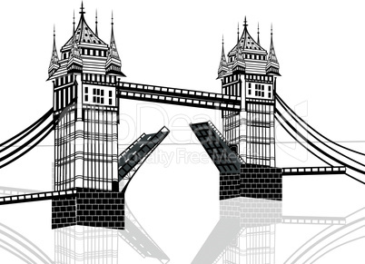 Tower Bridge, London vector hand drawn illustration