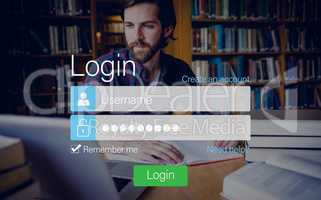 Login screen with hipster in library and laptop