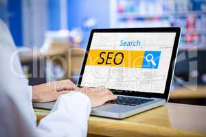 Composite image of logo of a search bar in which seo is written