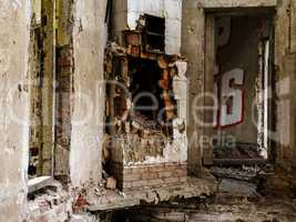 Inside destroyed house