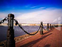 Horizontal vivid Saint Peterburg quay chain fence background