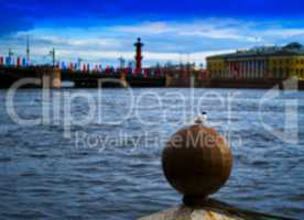 Horizontal vivid city Saint Petersburg quay bokeh background bok
