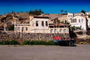 Horizontal vivid trailer on streets of Turkish town background b