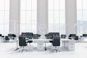 Office furniture in white room